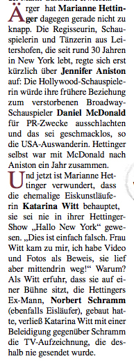 Marianne Hettinger Katarina Witt on Hallo New York