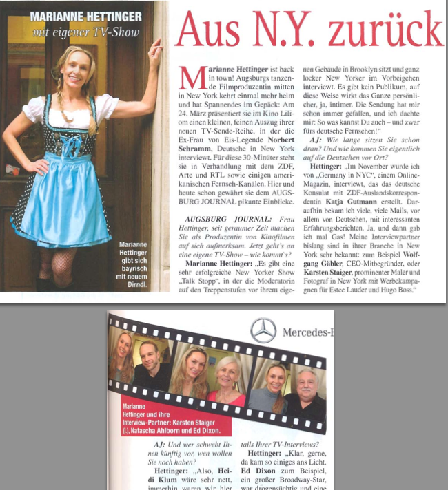 Marianne Hettinger TV Pilot im Augsburg Journal