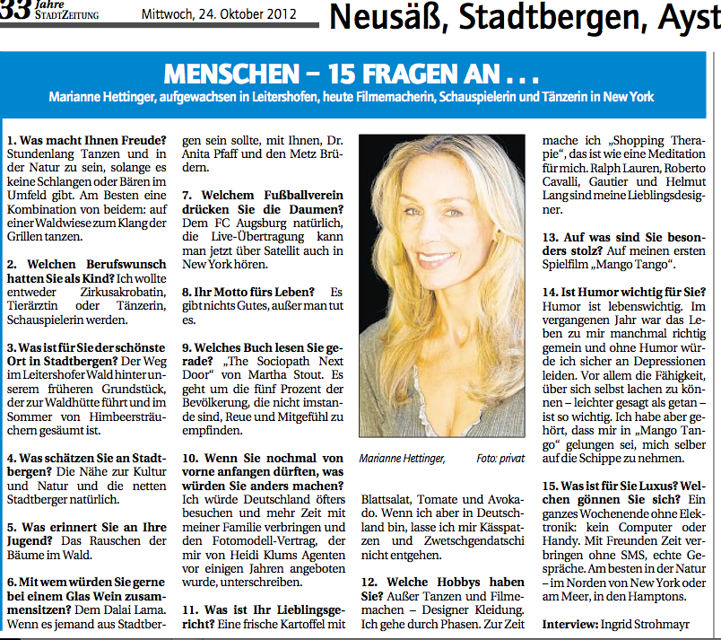 Marianne Hettinger interviewed by Augsburger Stadtzeitung Oct.24th 2012